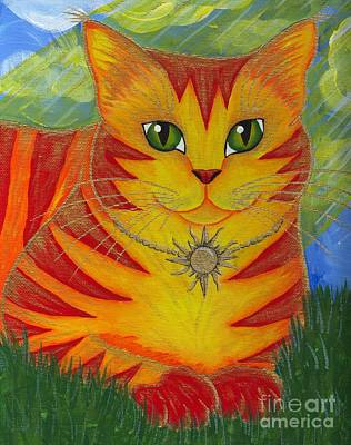 Art Print featuring the painting Rajah Golden Sun Cat by Carrie Hawks