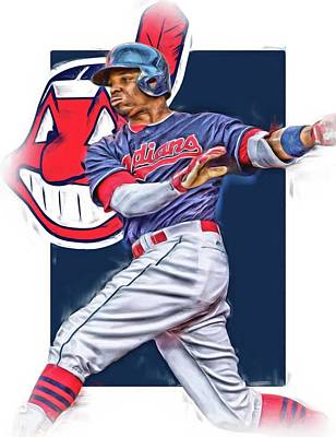Mixed Media - Rajai Davis Cleveland Indians Oil Art by Joe Hamilton