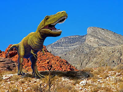 Reptiles Mixed Media - Rajasaurus in The Desert by Frank Wilson