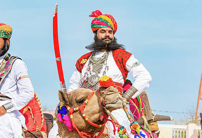 Photograph - Rajasthani Camel Rider With Sword by Nila Newsom