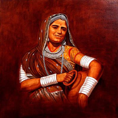 Rajasthani Lady Art Print by Pawan