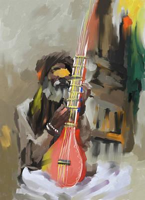 Painting - Rajasthani Musician II 438 1 by Mawra Tahreem