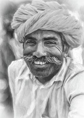 Male Portraits Digital Art - Rajput High School Teacher - Paint Bw by Steve Harrington