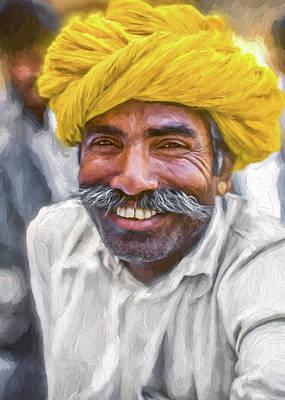 Male Portraits Digital Art - Rajput High School Teacher - Paint by Steve Harrington