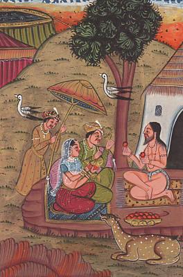 India Babas Painting - Rajput Royal King Vintage Art Miniature Forest Worship Monk Yogi Watercolor Artwork India 1 by M B Sharma