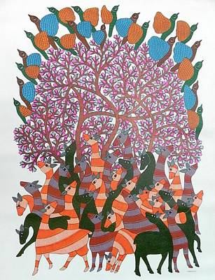Gond Tribal Art Painting - Raju 68 by Rajendra Shyam