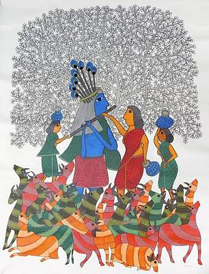 Gond Tribal Art Painting - Raju 69 by Rajendra Shyam