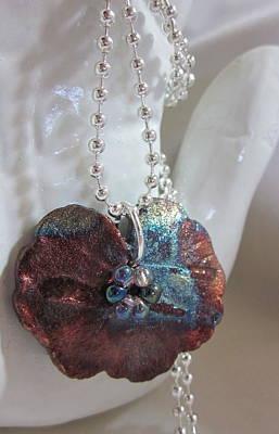 Silver Findings Jewelry - Raku Geranium Leaf Necklace by Janet  Telander
