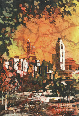 Painting - Raleigh Skyline- Batik by Ryan Fox