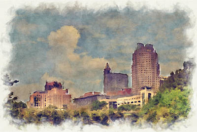 Street Hockey Digital Art - Raleigh Skyline by Paulette B Wright