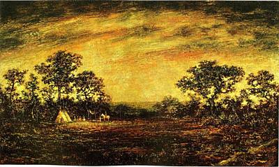 Art Print featuring the painting Ralph Blakelock, Indian Encampment by Artistic Panda