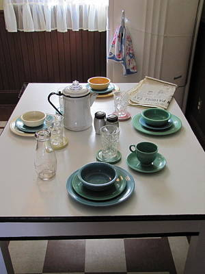 Fiestaware Photograph - Ralphie's Breakfast Table by Kelly Mezzapelle