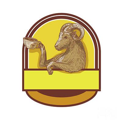 Ram Goat Drinking Coffee Crest Drawing Art Print