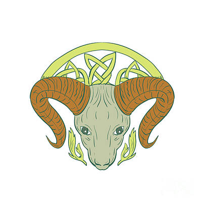 Mountain Goat Digital Art - Ram Head Celtic Knot by Aloysius Patrimonio