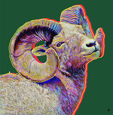 Digital Art - Ram Head by Gary Grayson