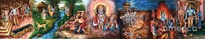 Goddess Durga Drawing - Ramayanam Saptakandam by Murali