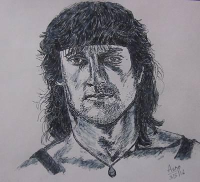 Sylvester Stallone Drawing - Rambo 3 by Aurokanya Chattopadhya