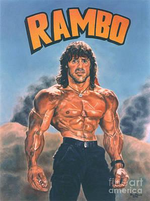Stallone Painting - Rambo Caricature by Bill Pruitt