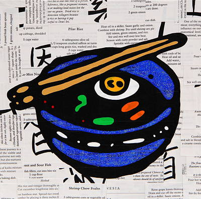 Cookbook Mixed Media - Ramen Bowl by Jen Gabriele
