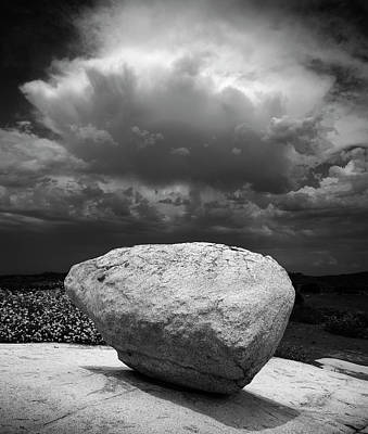 Photograph - Ramona Grasslands Cloud And Boulder by William Dunigan