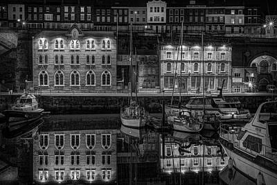 Photograph - Ramsgate Inner Marina On A Still Dark Night by David Attenborough