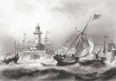 Lighthouse Drawing - Ramsgate, Kent, England In The 19th by Vintage Design Pics