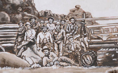 Painting - Ranch Cowboys Historical Vignette by Dawn Senior-Trask