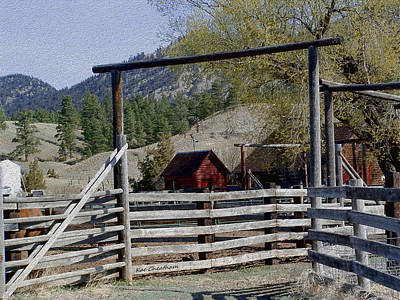 Ranch Fencing And Tool Shed Art Print by Kae Cheatham
