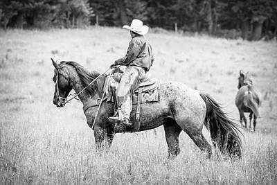 Photograph - Ranch Hand Wrangler Bw by Athena Mckinzie