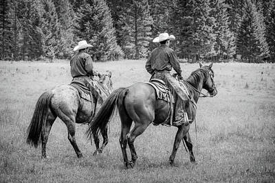 Photograph - Ranch Hands Ride Bw by Athena Mckinzie