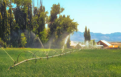 Photograph - Ranch Pasture Irrigation  Mid Summer by John Brink