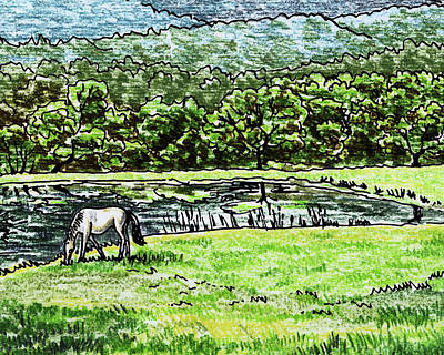 Royalty-Free and Rights-Managed Images - Ranch Pond And Grazing Horse by Irina Sztukowski