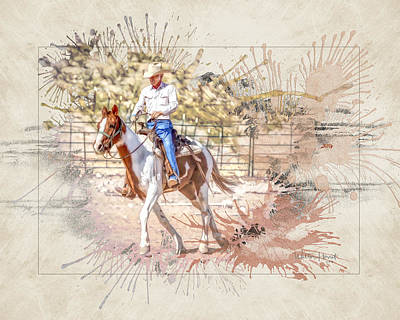 Digital Art - Ranch Rider Digital Art-b1 by Walter Herrit