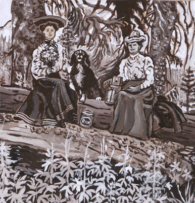 Painting - Ranch Women Picking Berries Historical Vignette by Dawn Senior-Trask
