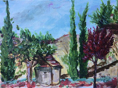 Landscapes Painting - Rancho California Cypresses by Roxy Rich