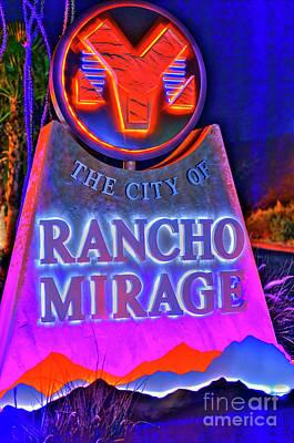 Photograph - Rancho Mirage City Marker Lit At Night by David Zanzinger