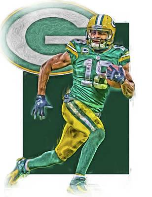 Mixed Media - Randall Cobb Green Bay Packers Oil Art by Joe Hamilton