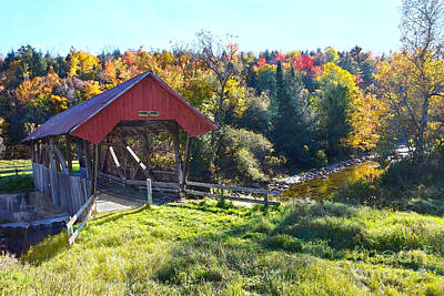 Abstract Male Faces - Randall Covered Bridge in Autumn by Catherine Sherman