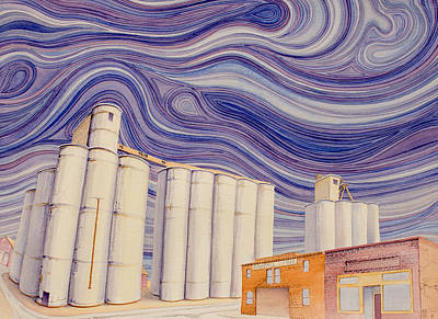 Grain Elevator Painting - Randall by Scott Kirby
