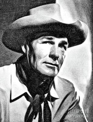 Musicians Drawings Rights Managed Images - Randolph Scott, Vintage Actor by JS Royalty-Free Image by John Springfield