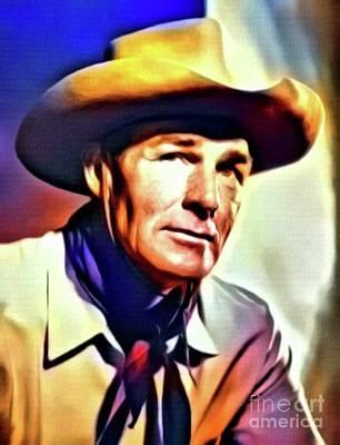Singer Digital Art - Randolph Scott, Vintage Actor. Digital Art By Mb by Mary Bassett