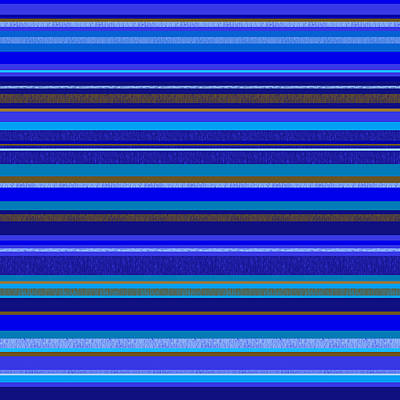Digital Art - Random Stripes - Blue And Gold by Val Arie
