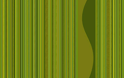 Digital Art - Random Stripes - Golden Green by Val Arie