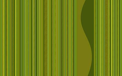 Digital Art - Random Stripes - Golden Green by Val Arie