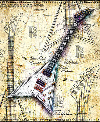 Randy Digital Art - Randy's Guitar by Gary Bodnar