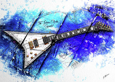Randy's Guitar On Blue II Print by Gary Bodnar