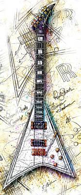 Randy Rhoads Digital Art - Randy's Guitar Vert 1a by Gary Bodnar