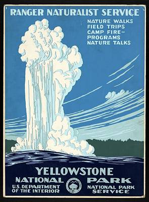 Royalty-Free and Rights-Managed Images - Ranger Naturalist Service - Yellowstone National Park - Retro travel Poster - Vintage Poster by Studio Grafiikka