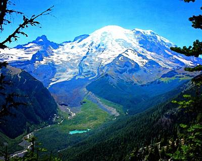 Photograph - Ranier And Little Tahoma by Timothy Bulone