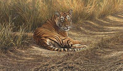 Painting - Ranthambore Roadblock by Alan M Hunt
